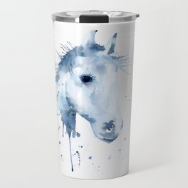 Watercolor Horse Portrait Abstract Paint Splatter Travel Mug