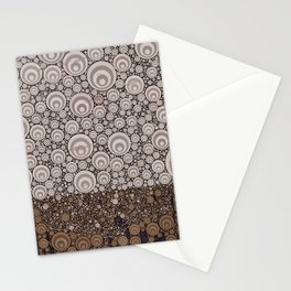 Groovy Brown Taupe Grey Circular Abstract Stationery Cards