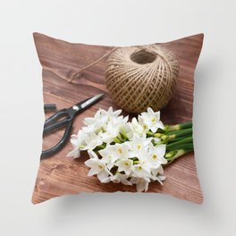 Narcissi with scissors and twine Throw Pillow