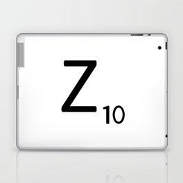 Letter Z - Custom Scrabble Letter Tile Art - Scrabble Z Initial Laptop & iPad Skin