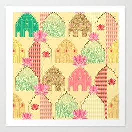 Art deco Indian elements Art Print