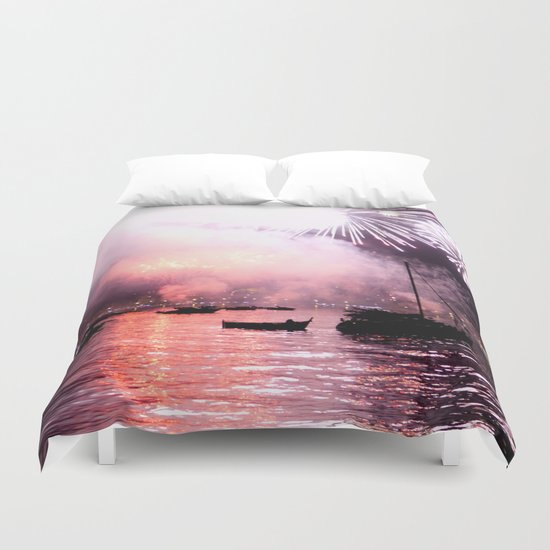 Fireworks on the harbour  Duvet Cover