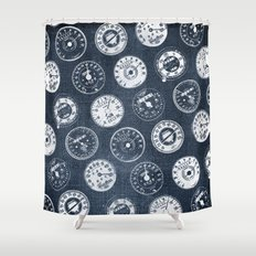 Vintage Denim Motorcycle Speedometers Shower Curtain