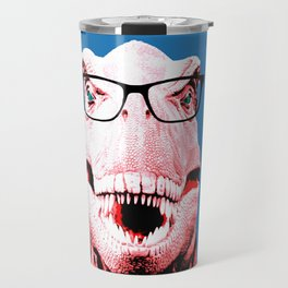 Geek T-Rex with Blue Background Travel Mug