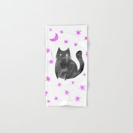 Black Cat with Pink Stars Hand & Bath Towel