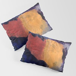 Mountain and Sun Abstract Acrylic Painting on Paper Pillow Sham