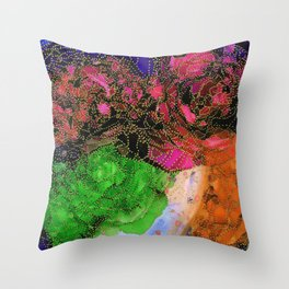 Space Garden in Technicolor Throw Pillow