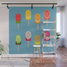 Fruit popsicles - blue version Wall Mural