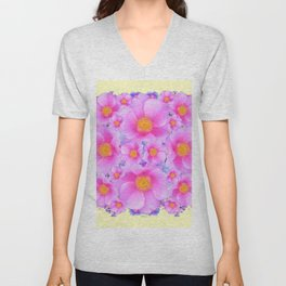 Pink ROSES & CREAM COLOR ART Unisex V-Neck