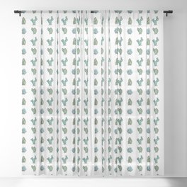 Kawaii Cute Desert Cacti Plants Sheer Curtain