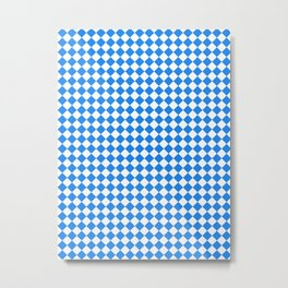 Small Diamonds - White and Dodger Blue Metal Print