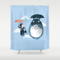 bunny Shower Curtains featuring The Perfect Neighbor by Anna-Maria Jung