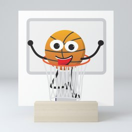 Cute Smiling Basketball Mini Art Print