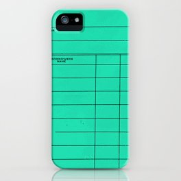 Library Card BSS 28 Turquoise iPhone Case