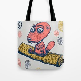 cute little beaver sitting on a log contemplating life Tote Bag