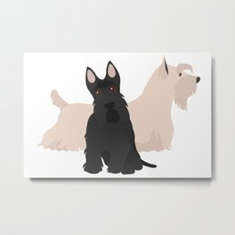 Scottish Terrier Black White Hunting Dog Metal Print