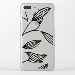 Leaves in Black Clear iPhone Case