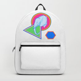 Elephant Illustration on colourful Geometric Print Backpack