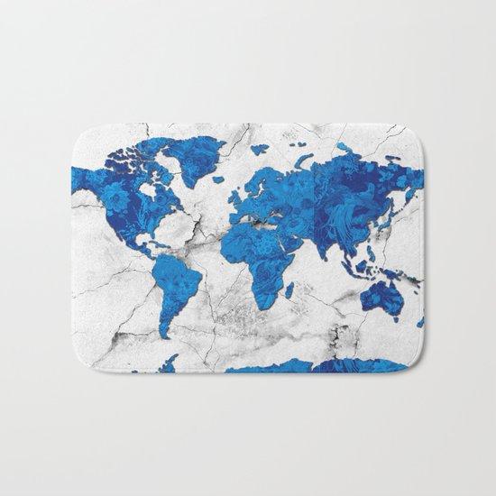 world map marble floral Bath Mat
