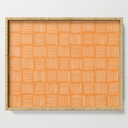 Sherbet Orange Basketweave Serving Tray