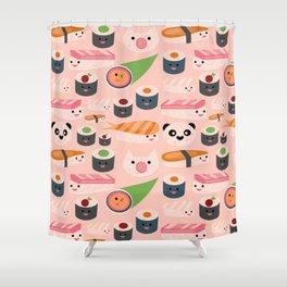 Kawaii sushi light pink Shower Curtain