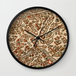 Vintage Map of Rome Italy (1660) Wall Clock