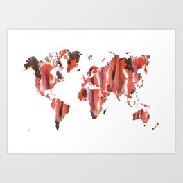 Watercolor World Map (orange/black/pink) Art Print