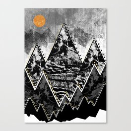 The small sun over the grey mountains Canvas Print