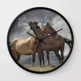 Montana Horses near Glacier National Park Wall Clock