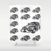 vw Shower Curtains featuring fluffy VW by vasodelirium