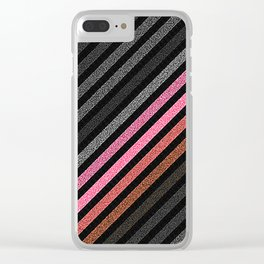 StRiPeS Slate Gray Living Coral Pixels Clear iPhone Case
