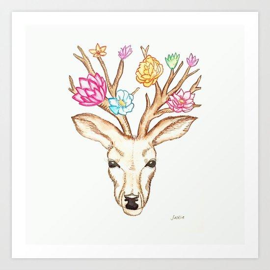 Deer with flowers Art Print