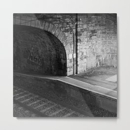 Train Station at Night time Metal Print
