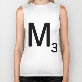 Letter M - Custom Scrabble Letter Tile Art - Scrabble M Initial Biker Tank