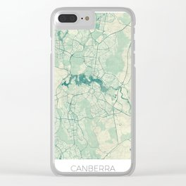 Canberra Map Blue Vintage Clear iPhone Case