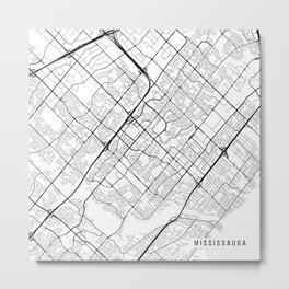Mississauga Map, Canada - Black and White Metal Print