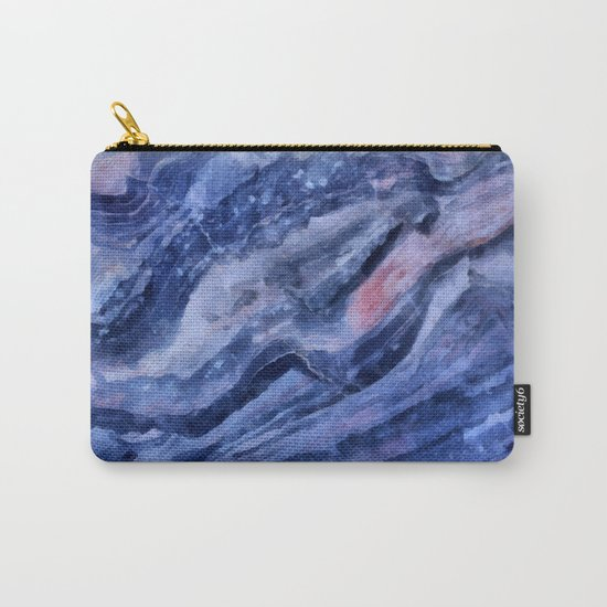 Blue watercolor marble Carry-All Pouch