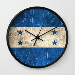 Vintage Aged and Scratched Honduras Flag Wall Clock