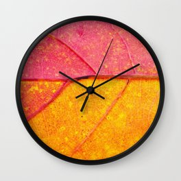 Nature Abstract: Cells and Veins of a Colorful Close up Autumn Leaf Wall Clock