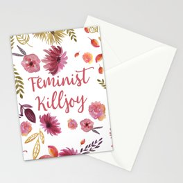'Feminist Killjoy' cute floral print Stationery Cards