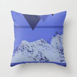 Alaskan Mountains - Periwinkle Throw Pillow
