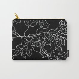 White ink, graphic, black cardboard, nature drawing maple leaves Carry-All Pouch