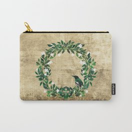 Wreath #White Flower & Bird #Royal collection Carry-All Pouch