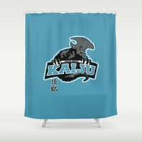 kaiju Shower Curtains featuring Pacific Breach Kaiju by Buby87