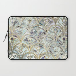 Pale Bright Mint and Sage Art Deco Marbling Laptop Sleeve