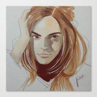 emma watson Canvas Prints featuring Emma Watson by Pizza Moonlight