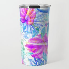 Summer tropical pink teal blue watercolor floral Travel Mug