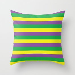 New Orleans Mardi Gras Stripes Purple Green Gold #society6 Throw Pillow