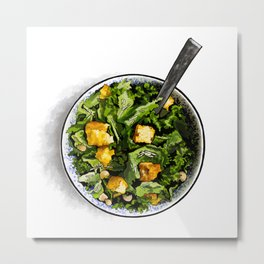 Tahini Kale Caesar Salad with Cornbread Croutons Metal Print