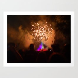 the mouse + fireworks Art Print
